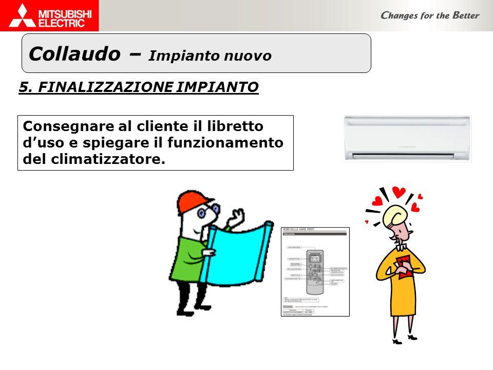 Collaudo – Impianto nuovo 5. FINALIZZAZIONE IMPIANTO Consegnare al cliente il libretto duso e spiegare il funzionamento del climatizzatore.