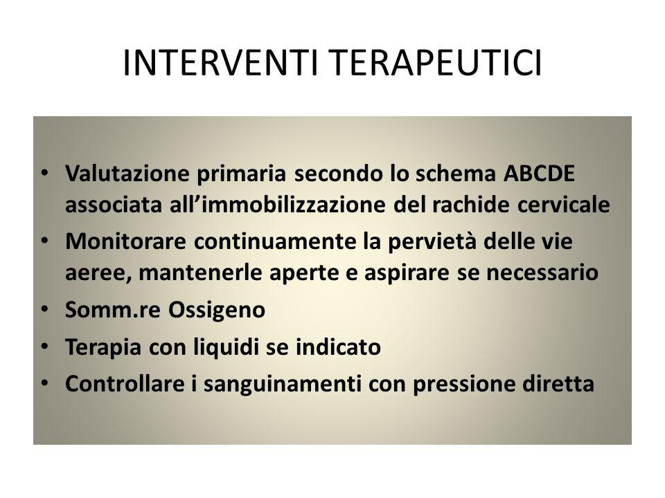 INTERVENTI TERAPEUTICI Valutazione primaria secondo lo schema ABCDE associata allimmobilizzazione del rachide cervicale Monitorare continuamente la pe