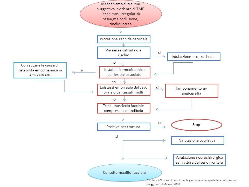 Meccanismo di trauma suggestivo evidenza di TMF (ecchimosi,irregolarità ossea,malocclusione, rinoliquorrea Protezione rachide cervicale Via aerea ostr
