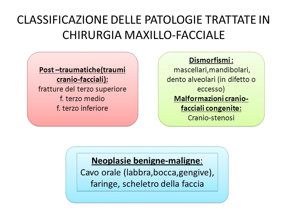 CLASSIFICAZIONE DELLE PATOLOGIE TRATTATE IN CHIRURGIA MAXILLO-FACCIALE Neoplasie benigne-maligne: Cavo orale (labbra,bocca,gengive), faringe,scheletro