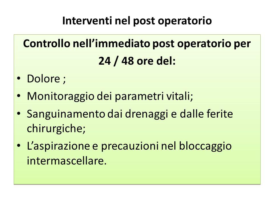 Interventi nel post operatorio Controllo nellimmediato post operatorio per 24 / 48 ore del: Dolore ; Monitoraggio dei parametri vitali; Sanguinamento