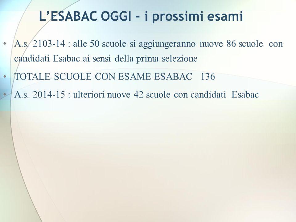 LESABAC OGGI – i prossimi esami A.s. 2103-14 : alle 50 scuole si aggiungeranno nuove 86 scuole con candidati Esabac ai sensi della prima selezione TOT
