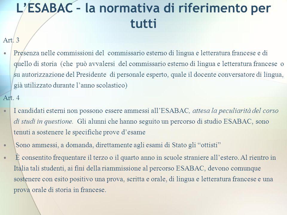 LESABAC – la normativa di riferimento per tutti Art. 3 Presenza nelle commissioni del commissario esterno di lingua e letteratura francese e di quello