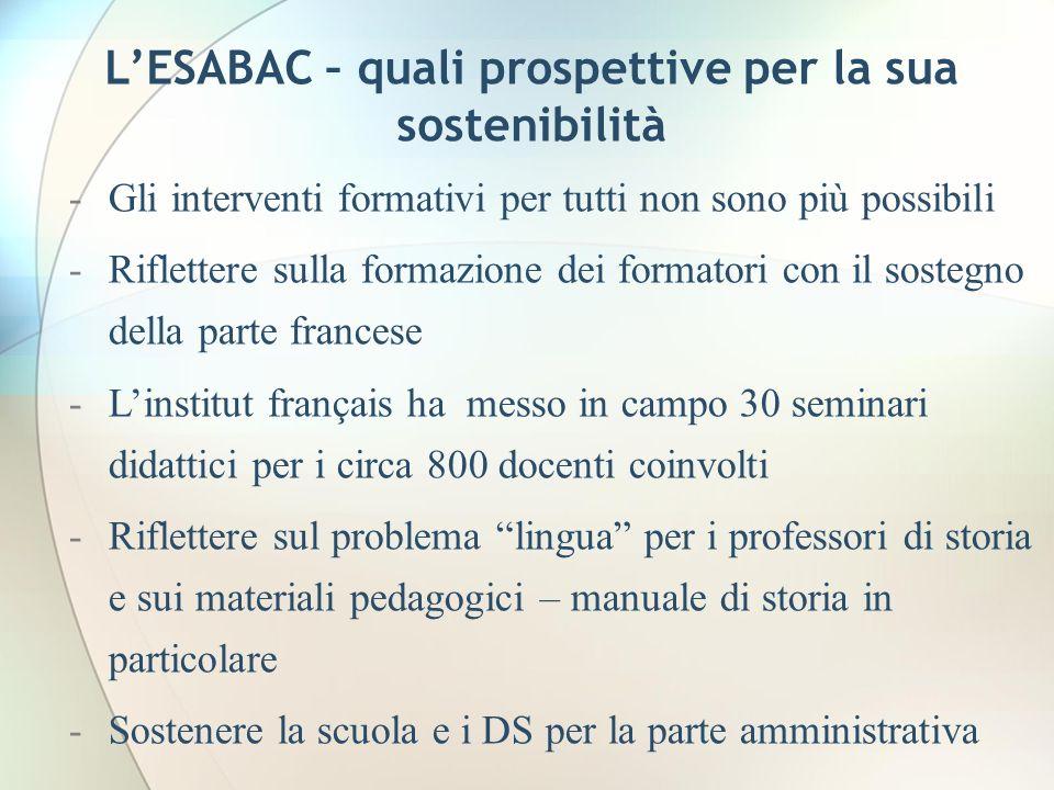 LESABAC – quali prospettive per la sua sostenibilità -Gli interventi formativi per tutti non sono più possibili -Riflettere sulla formazione dei forma