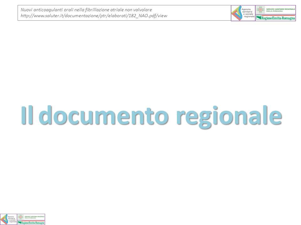 Ildocumento regionale Il documento regionale Nuovi anticoagulanti orali nella fibrillazione atriale non valvolare http://www.saluter.it/documentazione
