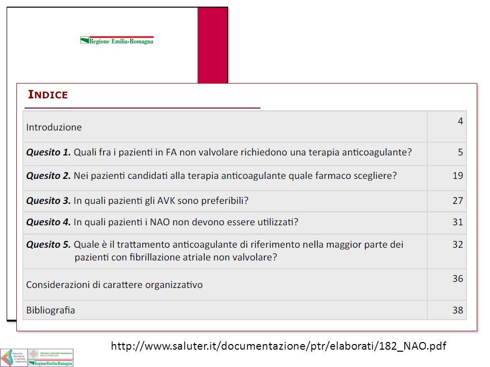 NAO: ipotesi di utilizzo in RER Obiettivo per il 2013: 3.000 a 9.000 fra 5% e 15% dei trattati : da 3.000 a 9.000 casi 500 15% delle nuove prescrizioni: circa 500 Obiettivo per il 2014/2015 : 2.600 il 5% dei trattati : circa 2.600 4.000 30% delle nuove prescrizioni: circa 4.000 60.000 trattati Si possono approssimare a 60.000 i paz con FANV nella RER trattati con anticoagulanti 13.000 Incidenza di 3 casi per 1000 anni/persona: circa 13.000 nuovi casi /anno 13.000 Alla fine del 2014 ci saranno in trattamento: circa 13.000 paz.