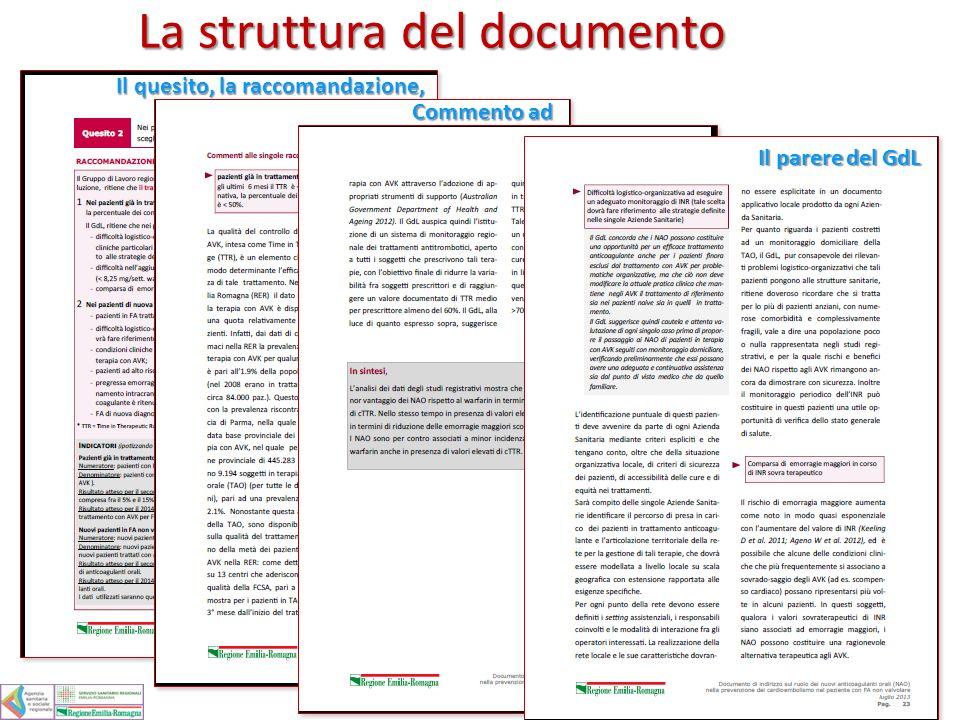 La struttura del documento Il quesito, la raccomandazione, gli indicatori gli indicatori Commento ad ogni raccomandazione ogni raccomandazione In sint