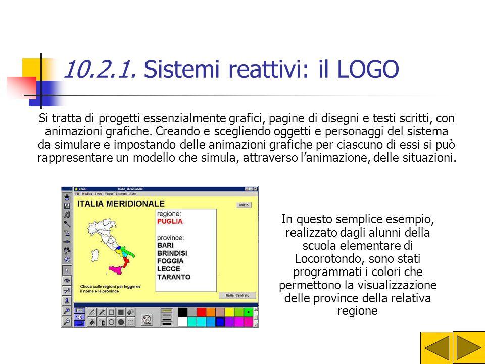 10.2.1. Sistemi reattivi: il LOGO Obiettivo di Papert (inventore del LOGO)Papert non era quello di formare dei programmatori in erba, ma Il Logo è sta
