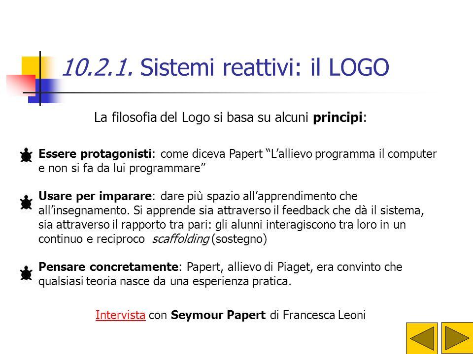 10.2.1. Sistemi reattivi: il LOGO Si tratta di progetti essenzialmente grafici, pagine di disegni e testi scritti, con animazioni grafiche. Creando e