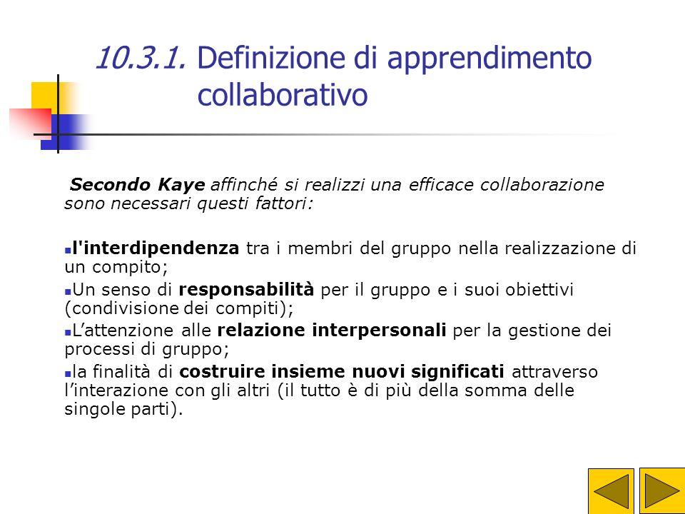 10.3.1. Definizione di apprendimento collaborativo A. Kaye dà questa definizione di apprendimento collaborativo: Collaborare (co-labore) vuol dire lav