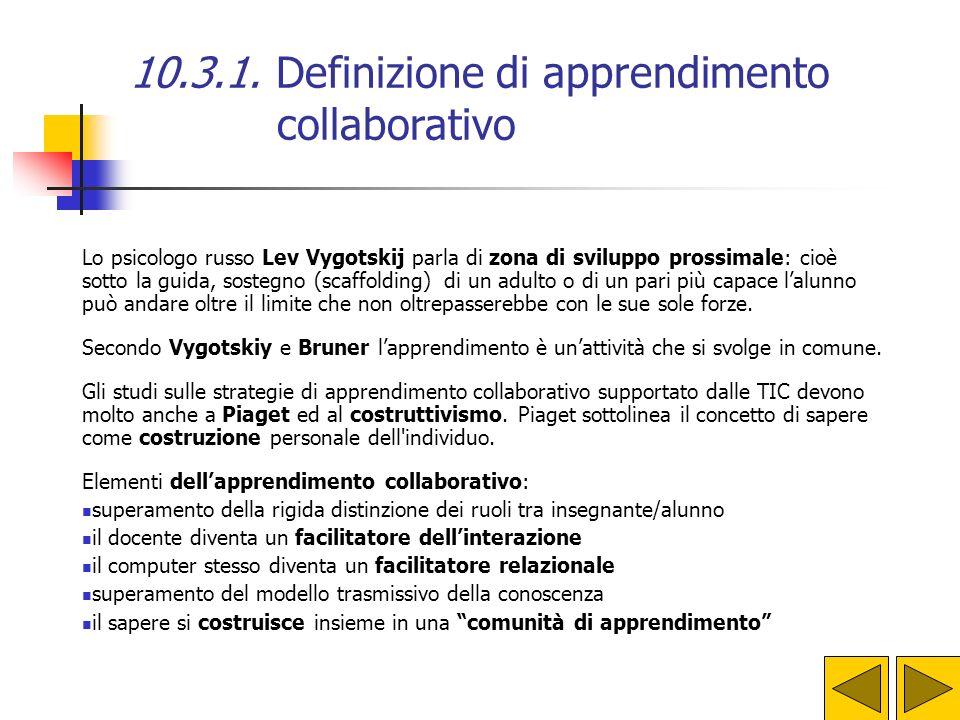 10.3.1. Definizione di apprendimento collaborativo Secondo Kaye affinché si realizzi una efficace collaborazione sono necessari questi fattori: l'inte