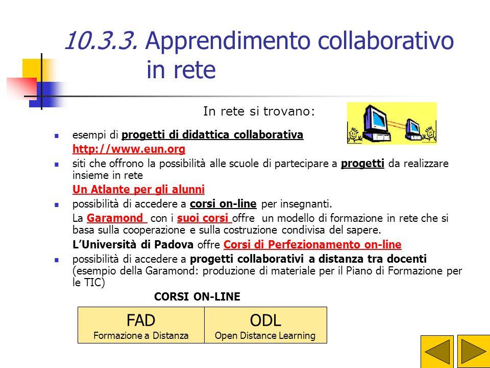 10.3.3. Apprendimento collaborativo in rete Lapprendimento collaborativo attraverso la rete ha le stesse caratteristiche dell'apprendimento collaborat