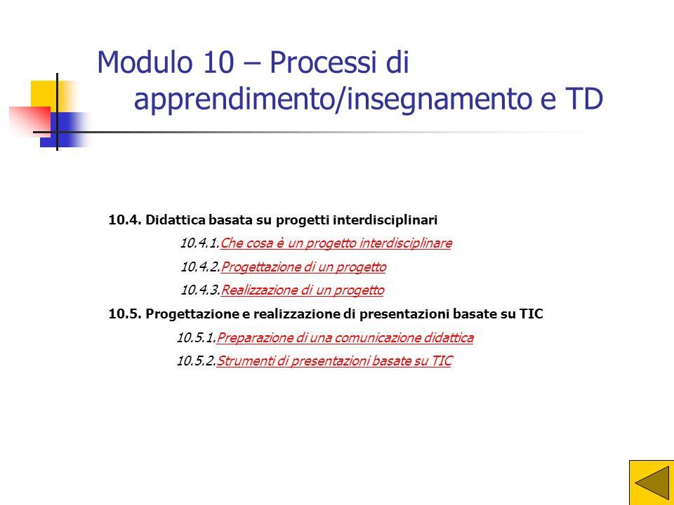 10.1. Ruolo delle TIC nei processi di apprendimento 10.1.1.TIC per la ricerca e la condivisione dellinformazioneTIC per la ricerca e la condivisione d
