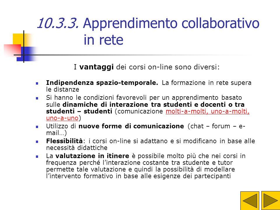 10.3.3. Apprendimento collaborativo in rete FAD Formazione a Distanza (di I generazione) ODL Open Distance Learning (FAD di III generazione) FAD Forma