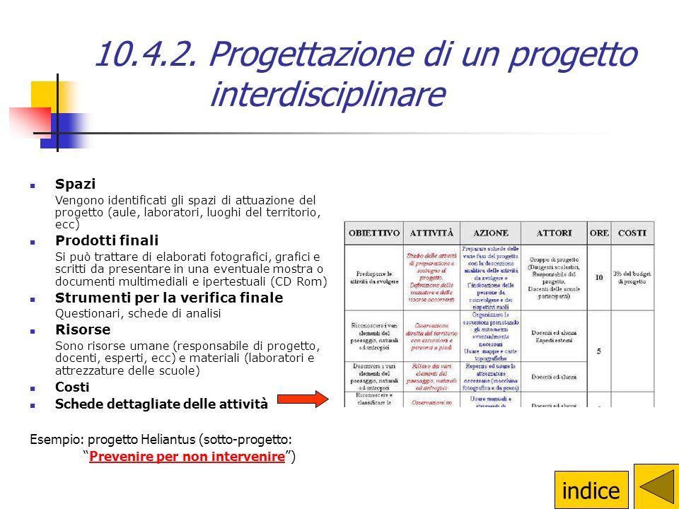10.4.2. Progettazione di un progetto interdisciplinare Per la progettazione di un progetto interdisciplinare è necessaria la costituzione di un gruppo