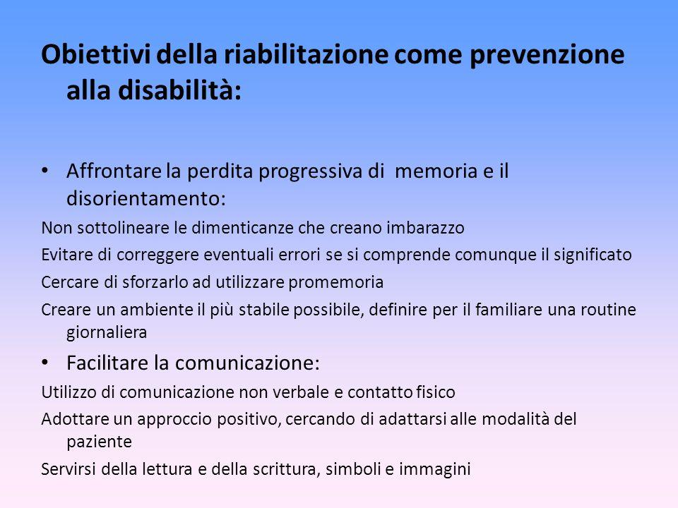 Obiettivi della riabilitazione come prevenzione alla disabilità: Affrontare la perdita progressiva di memoria e il disorientamento: Non sottolineare l