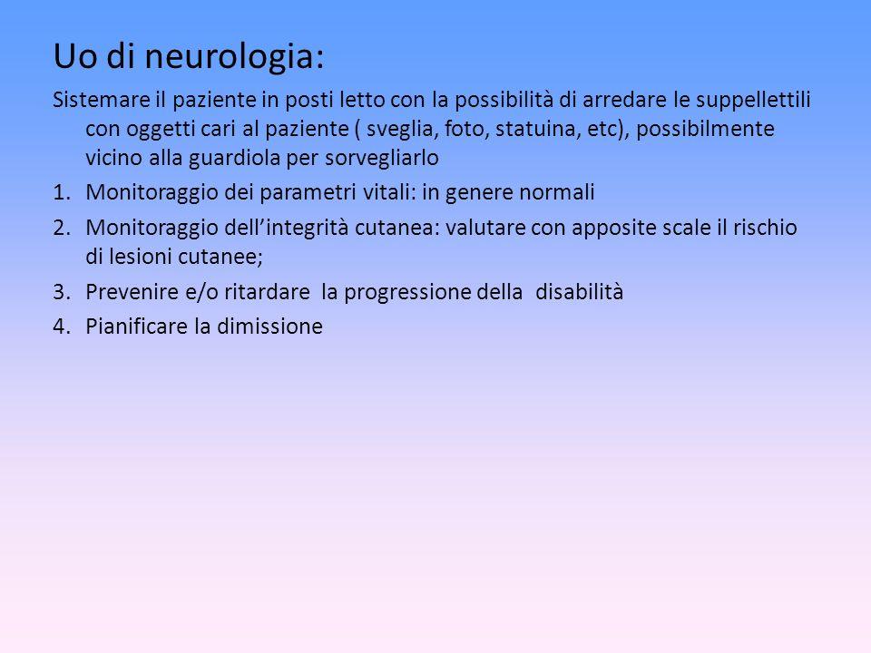 Uo di neurologia: Sistemare il paziente in posti letto con la possibilità di arredare le suppellettili con oggetti cari al paziente ( sveglia, foto, s