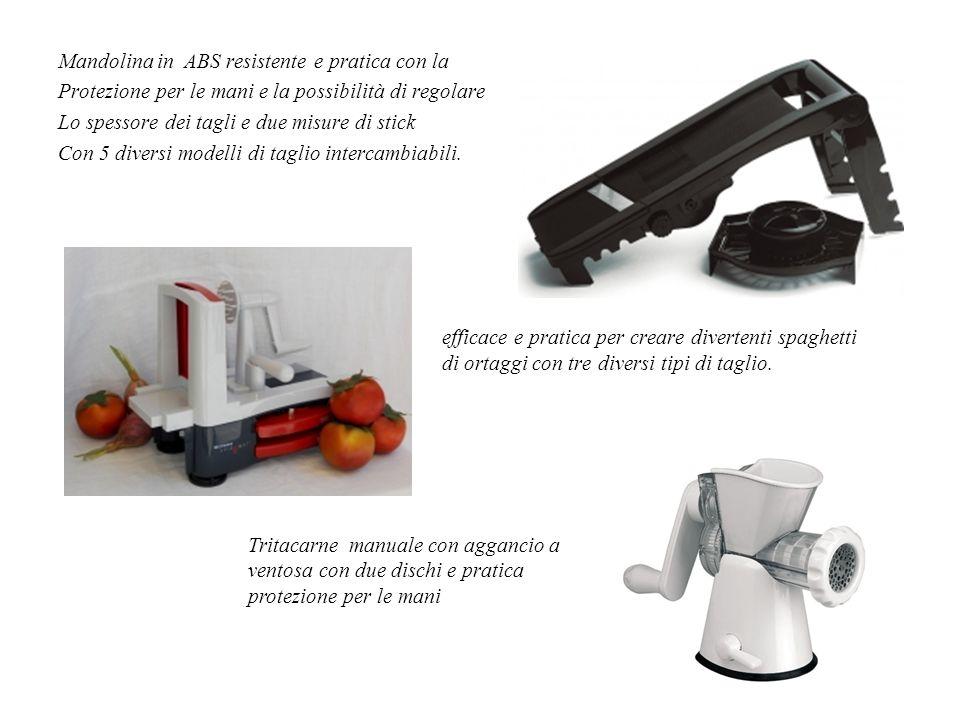 Mandolina in ABS resistente e pratica con la Protezione per le mani e la possibilità di regolare Lo spessore dei tagli e due misure di stick Con 5 diversi modelli di taglio intercambiabili.