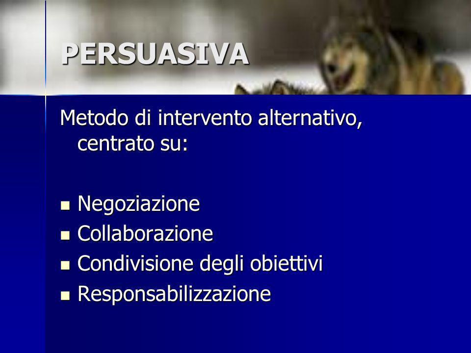 PERSUASIVA Metodo di intervento alternativo, centrato su: Negoziazione Negoziazione Collaborazione Collaborazione Condivisione degli obiettivi Condivi