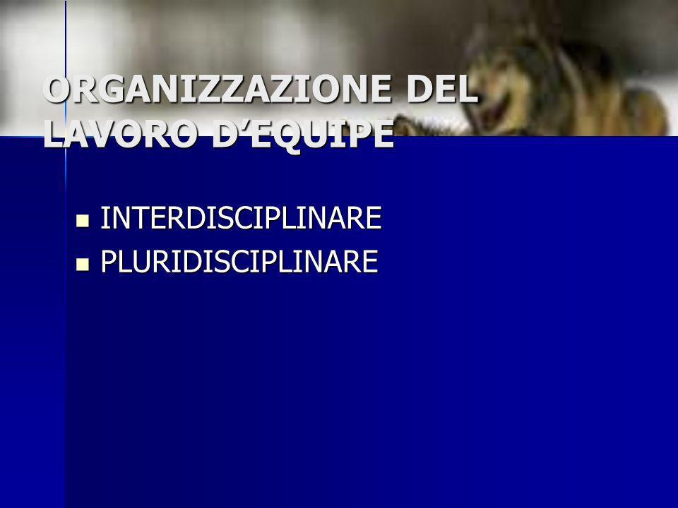 ORGANIZZAZIONE DEL LAVORO DEQUIPE INTERDISCIPLINARE INTERDISCIPLINARE PLURIDISCIPLINARE PLURIDISCIPLINARE