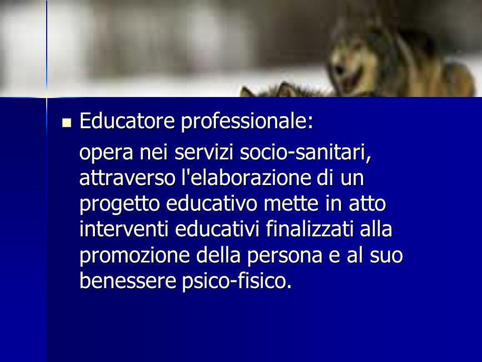 Educatore professionale: Educatore professionale: opera nei servizi socio-sanitari, attraverso l'elaborazione di un progetto educativo mette in atto i