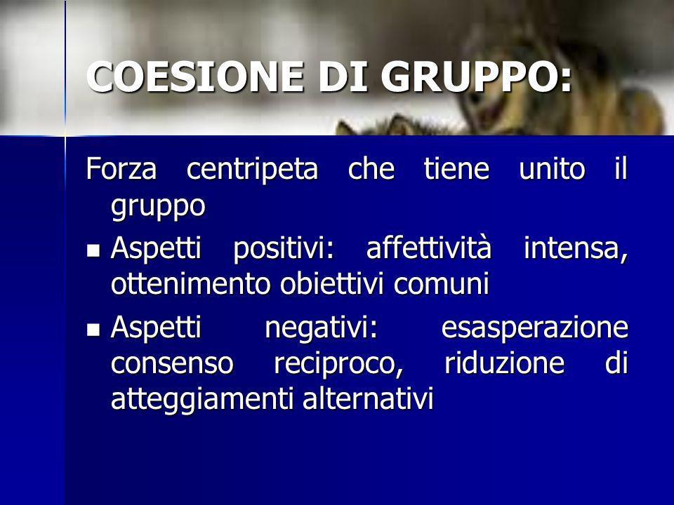 COESIONE DI GRUPPO: Forza centripeta che tiene unito il gruppo Aspetti positivi: affettività intensa, ottenimento obiettivi comuni Aspetti positivi: a