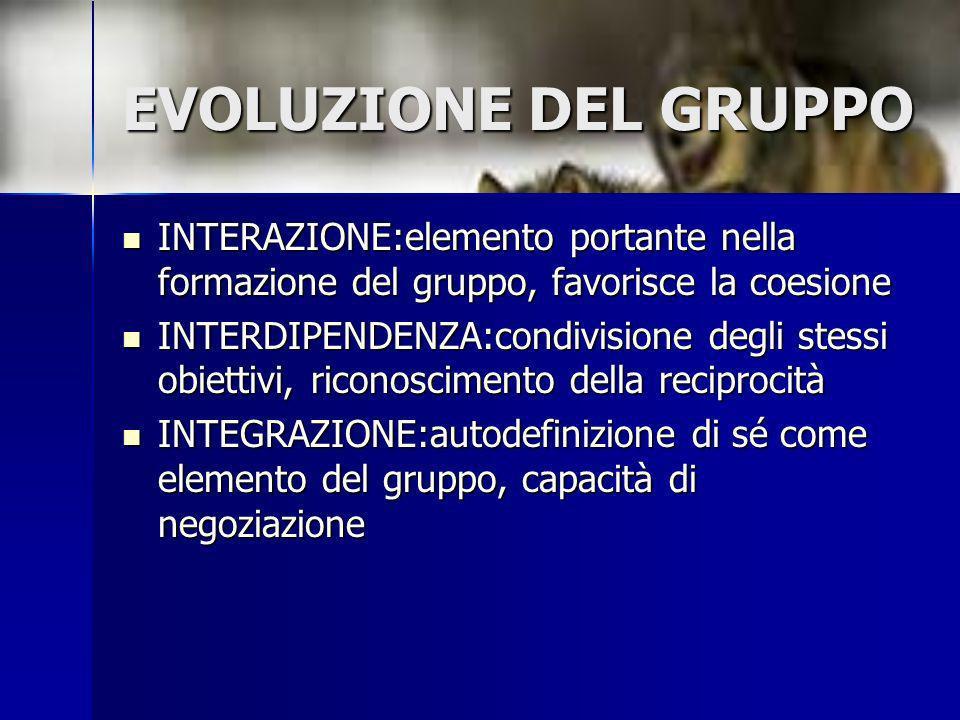 EVOLUZIONE DEL GRUPPO INTERAZIONE:elemento portante nella formazione del gruppo, favorisce la coesione INTERAZIONE:elemento portante nella formazione