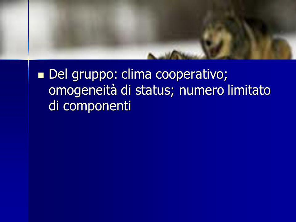Del gruppo: clima cooperativo; omogeneità di status; numero limitato di componenti Del gruppo: clima cooperativo; omogeneità di status; numero limitat