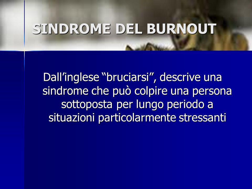 SINDROME DEL BURNOUT Dallinglese bruciarsi, descrive una sindrome che può colpire una persona sottoposta per lungo periodo a situazioni particolarment
