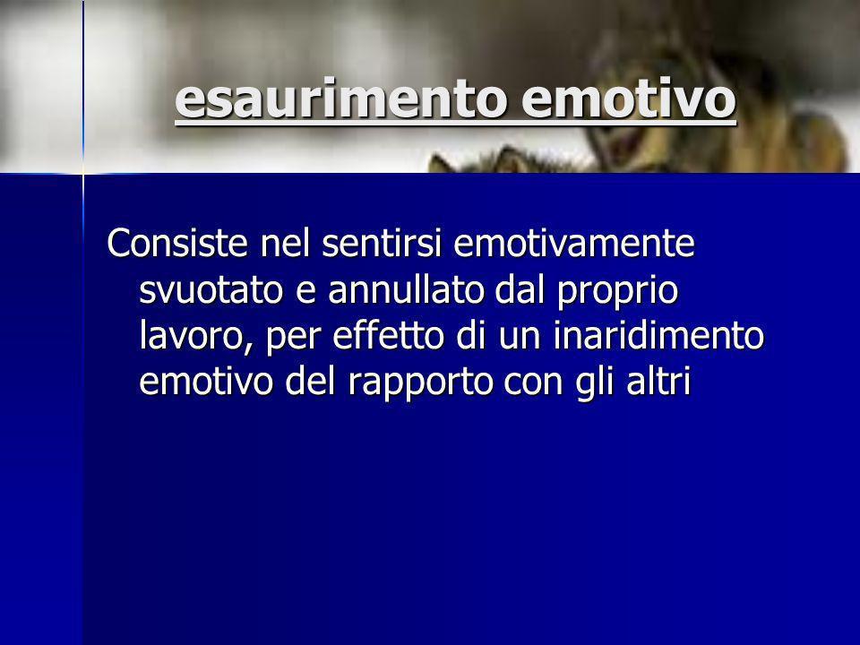 esaurimento emotivo Consiste nel sentirsi emotivamente svuotato e annullato dal proprio lavoro, per effetto di un inaridimento emotivo del rapporto co