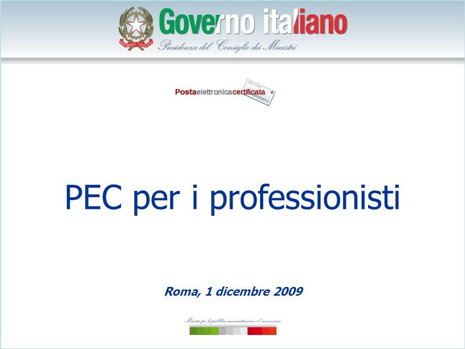 PEC per i professionisti Roma, 1 dicembre 2009