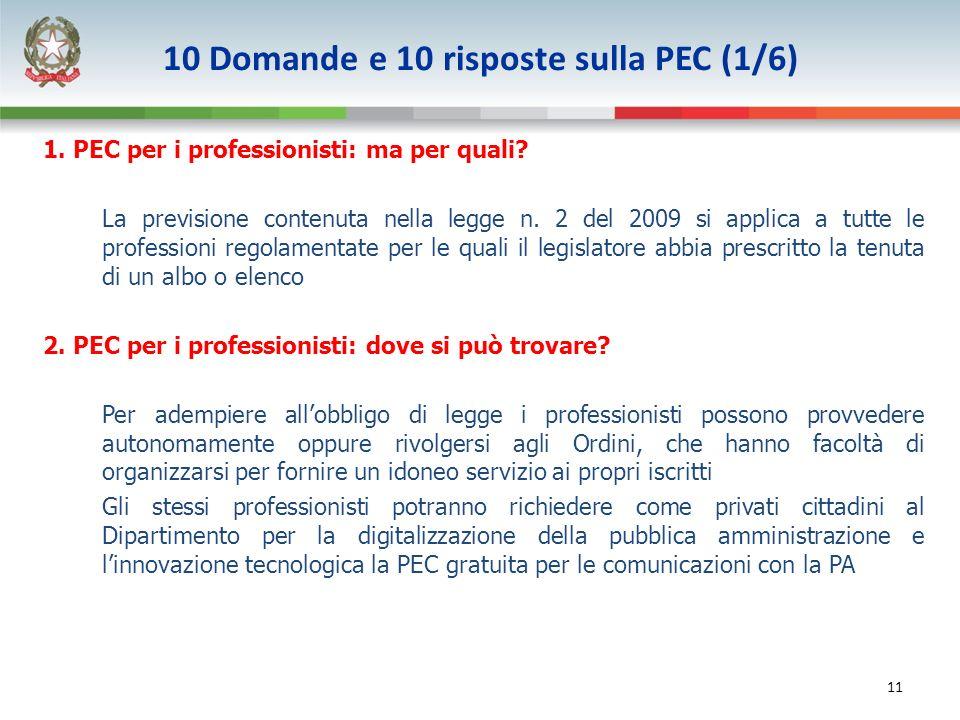 11 1. PEC per i professionisti: ma per quali. La previsione contenuta nella legge n.