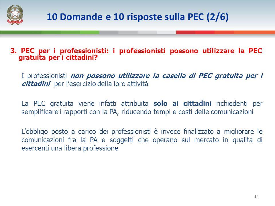 12 3. PEC per i professionisti: i professionisti possono utilizzare la PEC gratuita per i cittadini? I professionisti non possono utilizzare la casell