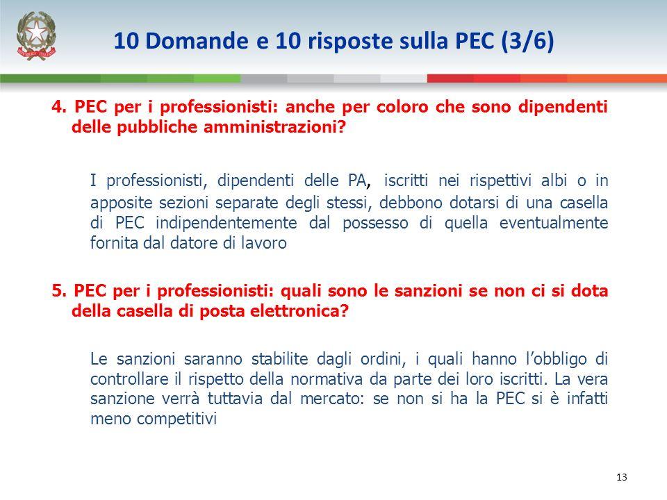 13 4. PEC per i professionisti: anche per coloro che sono dipendenti delle pubbliche amministrazioni? I professionisti, dipendenti delle PA, iscritti