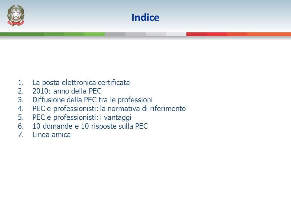 1.La posta elettronica certificata 2.2010: anno della PEC 3.Diffusione della PEC tra le professioni 4.PEC e professionisti: la normativa di riferiment