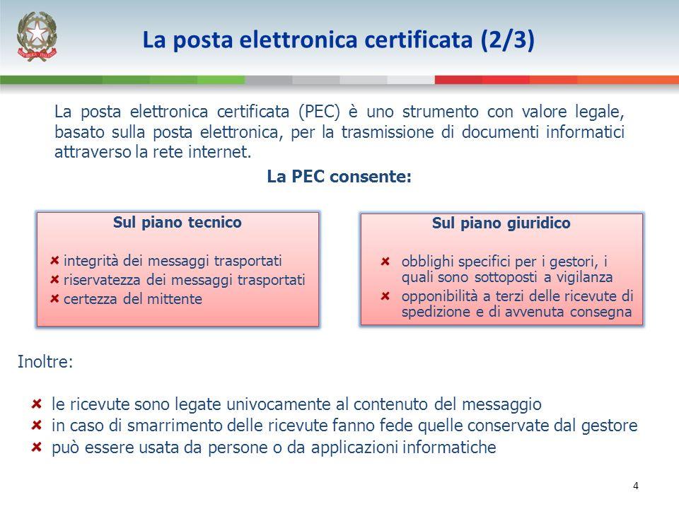 4 La posta elettronica certificata (PEC) è uno strumento con valore legale, basato sulla posta elettronica, per la trasmissione di documenti informatici attraverso la rete internet.