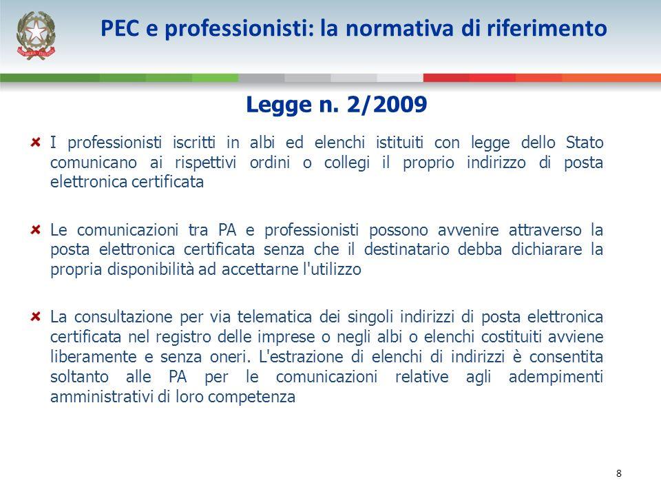 9 PEC per i professionisti, perché.La previsione contenuta nella legge n.