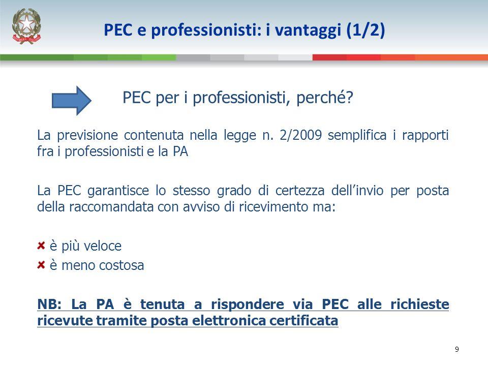 9 PEC per i professionisti, perché? La previsione contenuta nella legge n. 2/2009 semplifica i rapporti fra i professionisti e la PA La PEC garantisce