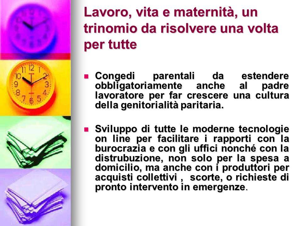 Lavoro, vita e maternità, un trinomio da risolvere una volta per tutte Congedi parentali da estendere obbligatoriamente anche al padre lavoratore per