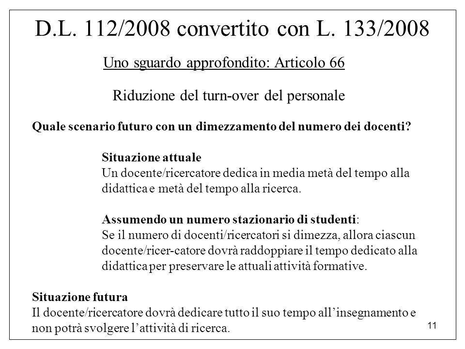 11 D.L. 112/2008 convertito con L. 133/2008 Uno sguardo approfondito: Articolo 66 Riduzione del turn-over del personale Quale scenario futuro con un d
