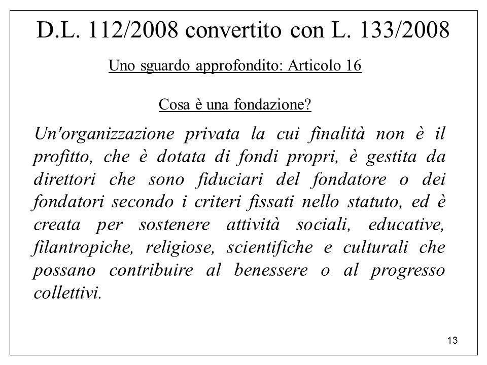 13 D.L. 112/2008 convertito con L. 133/2008 Uno sguardo approfondito: Articolo 16 Cosa è una fondazione? Un'organizzazione privata la cui finalità non