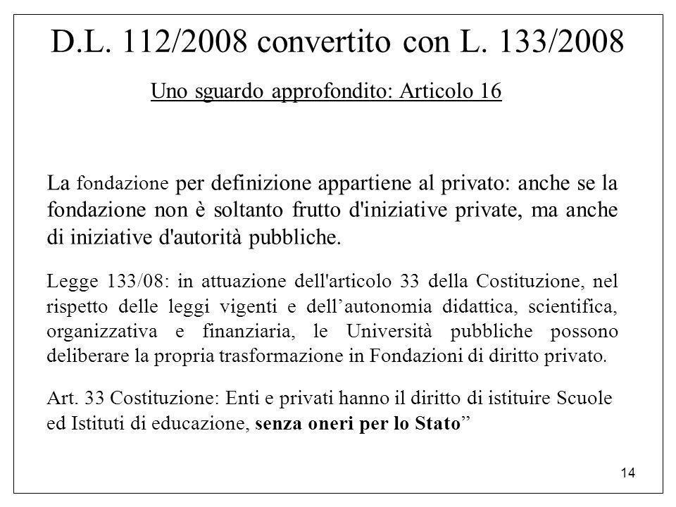 14 D.L. 112/2008 convertito con L. 133/2008 Uno sguardo approfondito: Articolo 16 La fondazione per definizione appartiene al privato: anche se la fon