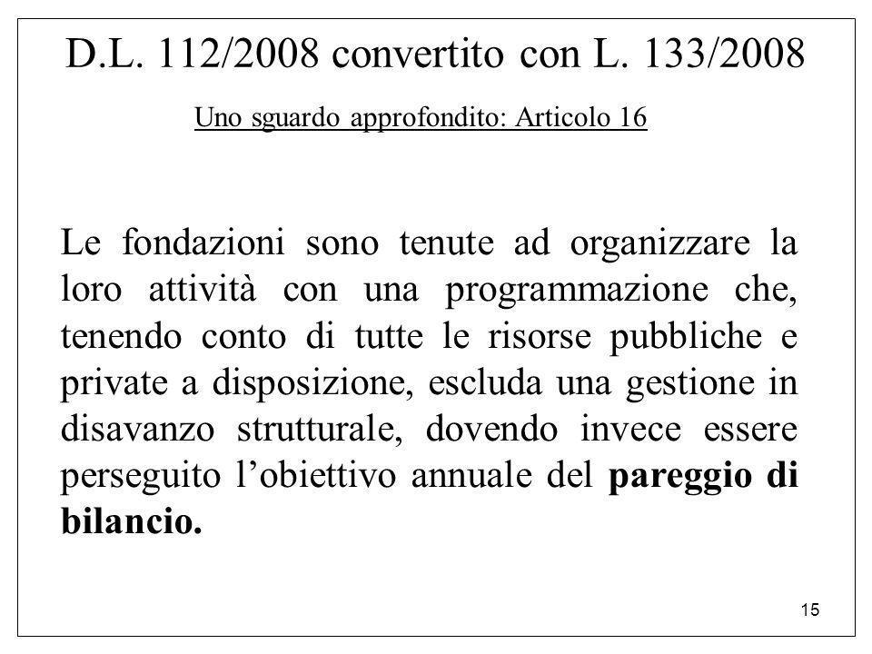 15 D.L. 112/2008 convertito con L. 133/2008 Uno sguardo approfondito: Articolo 16 Le fondazioni sono tenute ad organizzare la loro attività con una pr