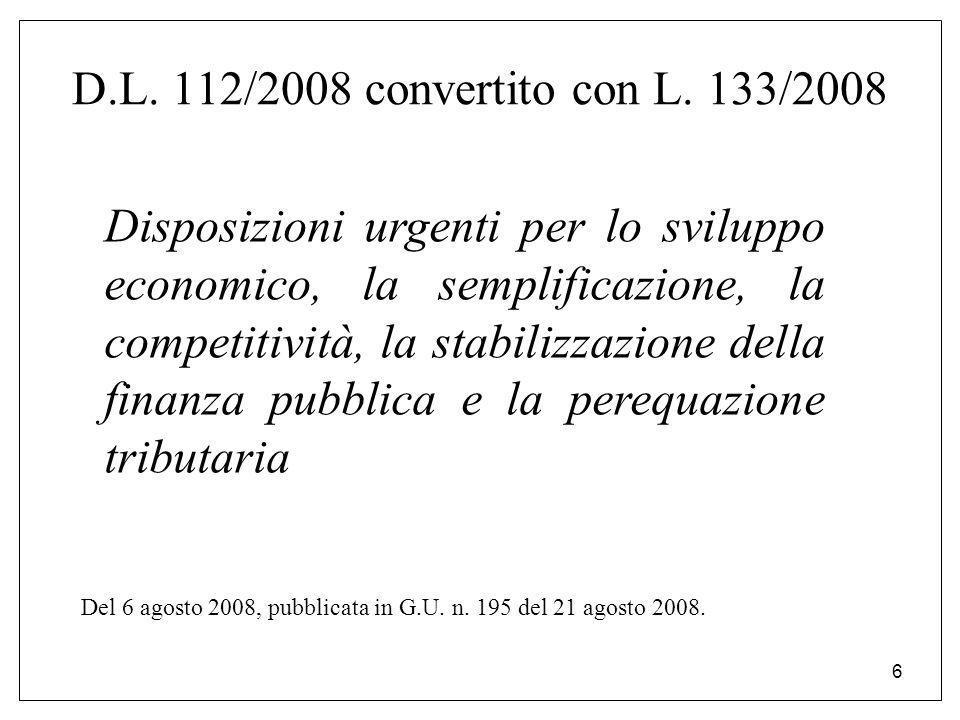 6 D.L. 112/2008 convertito con L. 133/2008 Disposizioni urgenti per lo sviluppo economico, la semplificazione, la competitività, la stabilizzazione de