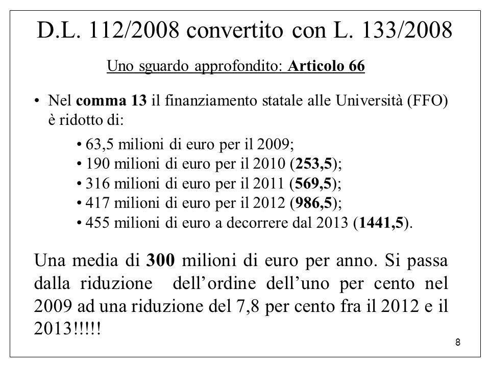 8 D.L. 112/2008 convertito con L. 133/2008 Uno sguardo approfondito: Articolo 66 Nel comma 13 il finanziamento statale alle Università (FFO) è ridotto