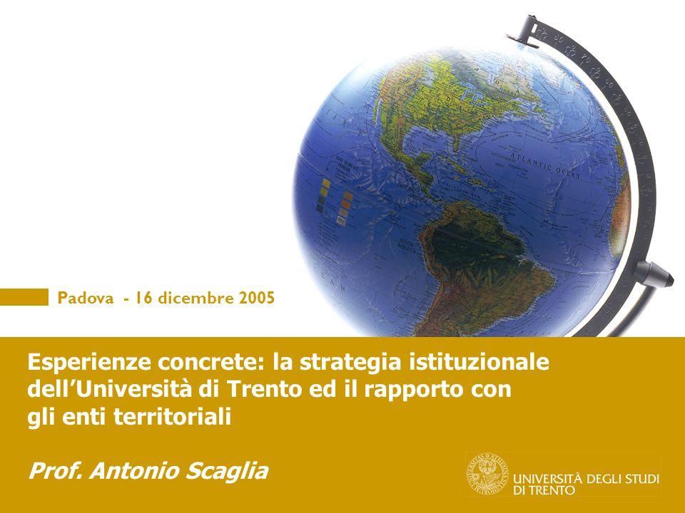 Padova - 16 dicembre 2005 Esperienze concrete: la strategia istituzionale dellUniversità di Trento ed il rapporto con gli enti territoriali Prof.
