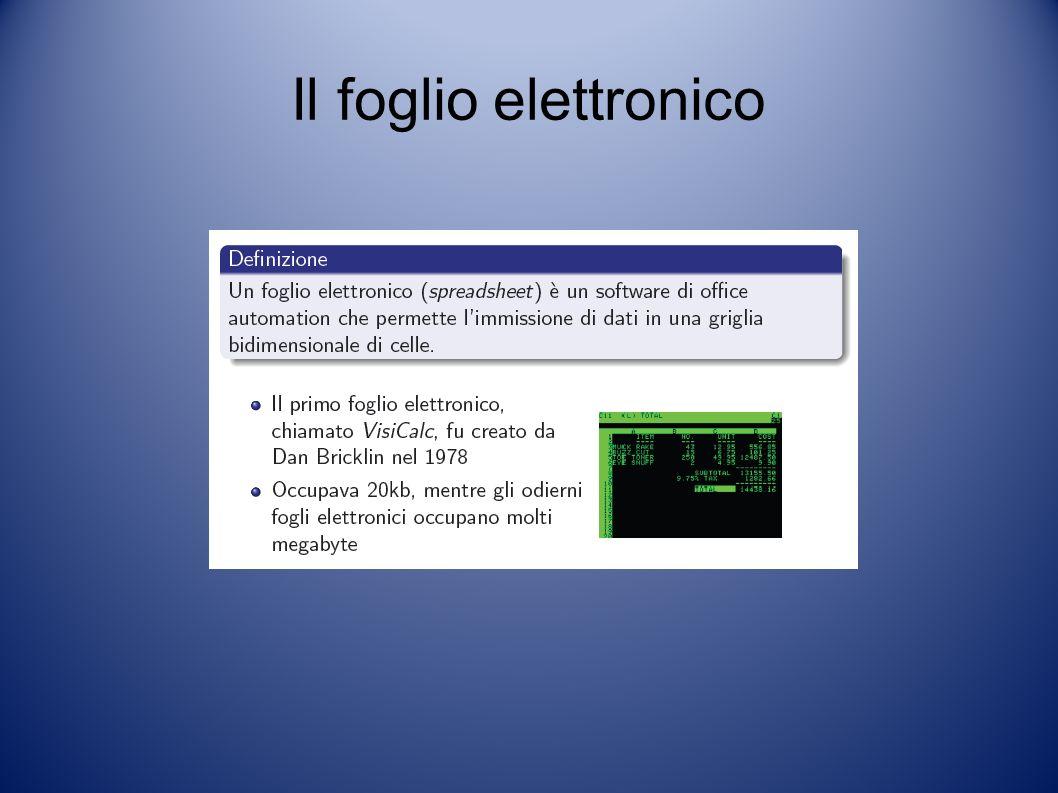 Il foglio elettronico