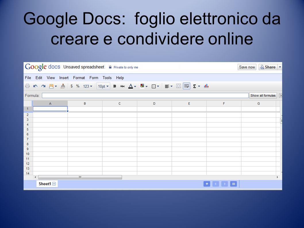 Google Docs: foglio elettronico da creare e condividere online