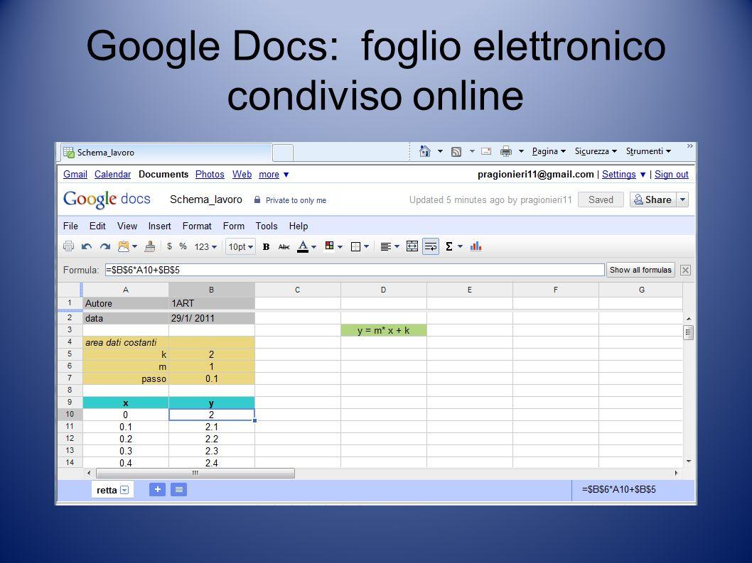 Google Docs: foglio elettronico condiviso online