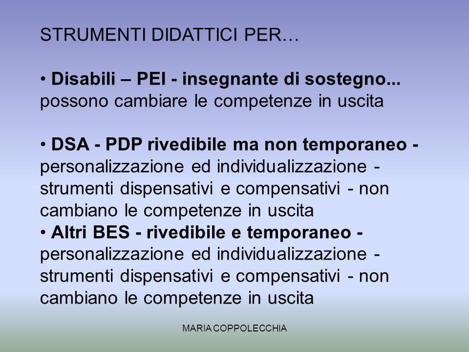 MARIA COPPOLECCHIA STRUMENTI DIDATTICI PER… Disabili – PEI - insegnante di sostegno...